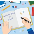 Back to School Flat Style Background With Opened vector image