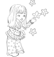 Cute little girl with funny stars Digital stamp vector image