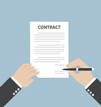 Businessman hand holding pen and signing business vector image