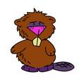 beaver cartoon hand drawn image vector image vector image