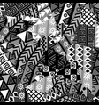black and white patchwork background with african vector image vector image