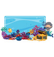 border template with mermaid and fish underwater vector image vector image