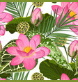 bright seamless pattern with tropical pink lotus vector image vector image