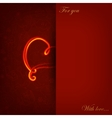 Card with glowing heart on love symbol vector image vector image