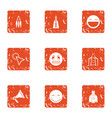 children happiness icons set grunge style vector image vector image
