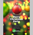 christmas poster with bright balls vector image vector image