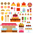 confectionery shop flat set with donuts cake vector image