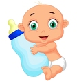 Cute baby cartoon holding milk bottle