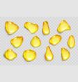 drops orange juice or oil yellow droplets vector image