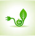 eco energy concept with leafplug and green apple vector image vector image
