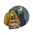 Frankenstein And City Background vector image vector image