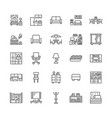 furniture flat line icons living room tv vector image vector image