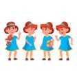 girl kindergarten kid poses set kiddy vector image