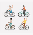 group of men on bicycle vector image vector image