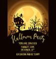 halloween party invitation with spooky castle vector image