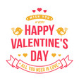 happy valentines day stamp badge card vector image vector image