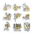 jazz club labels set vintage hand drawn vector image vector image