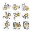 jazz club labels set vintage hand drawn vector image