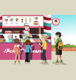 kids buying ice cream vector image vector image