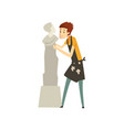 male sculptor chiselling a marble statue talented vector image