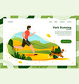 man with dog running in park vector image