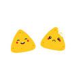 nachos tortilla chips characters happy and sad vector image vector image