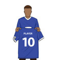 new transfer football player blue shirt vector image vector image