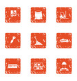 posting icons set grunge style vector image