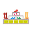 racks with various pair of shoes colorful banner vector image vector image