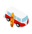 Retro red bus with yellow surfboard icon vector image vector image