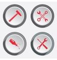 Screwdriver hammer wrench key icon bolt nut vector image