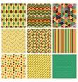 Seamless retro geometric hipster background set vector image
