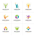 set abstract colorful human logo vector image vector image