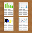 set of documents with graphics and charts vector image