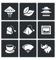 Set of Tea Icons China Leaf Temple vector image vector image