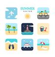set summer holidays flat design plane vector image
