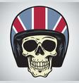 skulls with england motorcycle helmet vector image vector image