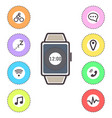 smart watches icons outline isolated set vector image vector image