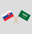 the slovakian and saudi arabia flags vector image vector image