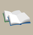 two open empty books blue and greeb color icon vector image
