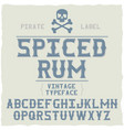 whiskey fine label font vector image vector image