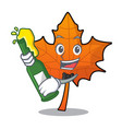 with beer red maple leaf mascot cartoon vector image