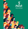 womens day 8th march poster of women parade vector image vector image