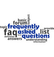 word cloud - frequently asked questions vector image