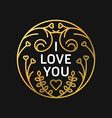 Golden Decorative Floral Frame with Text - I love vector image