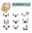 kawaii funny minimalistic emojies isolated cartoon vector image