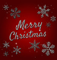 merry christmas holiday with silver glitter vector image