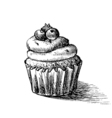 black and white sketch of cute creamy sweet vector image