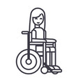 disabled girl in wheelchair line icon sign vector image
