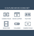 6 movie icons vector image vector image